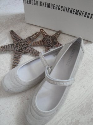 Bikkembergs Strappy Ballerinas light grey leather