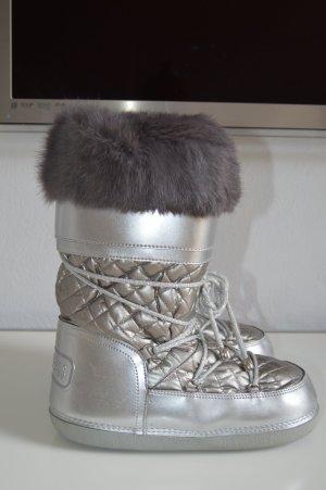 Bikkembergs Schneestiefel Moon Boots 38 39 40 Echtfell silber Np 449€