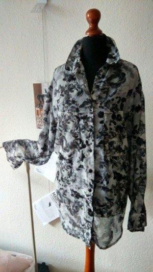 Bildschöne, semi-transparente Bluse mit sehr femininem Blumenmuster von Influence, grau-schwarz!