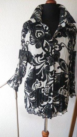 Bildschöne, semi-transparente Chiffonbluse, schwarz.weiß, boho mit floralem Muster, Gr. M!