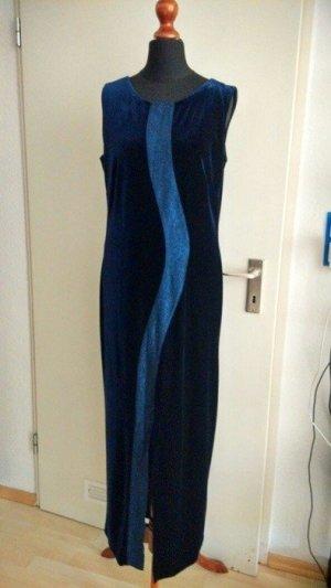Bildschönes Kleid aus nachtblauem Samt mit sehr schönem Brockateinsatz!