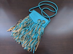 Billabong Hippie Teal Fringe Crossbody Mini Boho Southwestern Bag