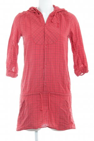 Billabong Hooded Dress red-mauve check pattern country style
