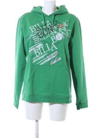 Billabong Maglione con cappuccio verde caratteri stampati stile casual