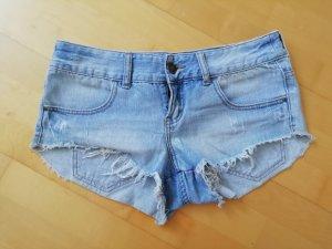 Billabong Pantalón corto de tela vaquera azul aciano-blanco Algodón