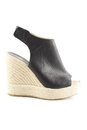 Billi Bi Wedge Sandals black-cream cable stitch casual look