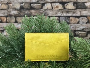 Bimba & Lola Card Case lime yellow leather