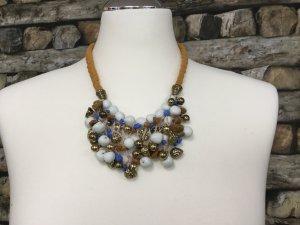 BIMBA Y LOLA Damen Kette Halskette Necklace Gelb Blau Weiß Gold Mittellang NEU NEU