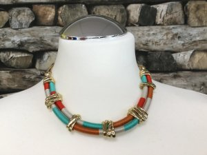 BIMBA Y LOLA Damen Kette Halskette Necklace Gold Orange Weiß Türkis Kurz NEU NEU