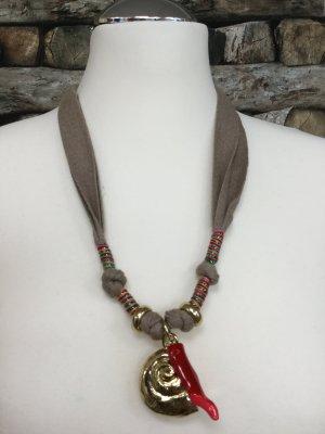 BIMBA Y LOLA Damen Kette Halskette Necklace Lang Stoff Braun Gold Muscheln Anhänger NEU NEU