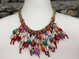 BIMBA Y LOLA Damen Kette Halskette Necklace Metall Gold Rot Türkis Kurz Muschel Anhänger NEU NEU