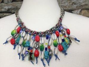 BIMBA Y LOLA Damen Kette Halskette Necklace Silber Metall Blau Muschel Anhänger Kurz NEU NEU