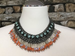 BIMBA Y LOLA Damen Kette Halskette Necklace Türkis Orange Weiß Silber Metall Kurz NEU NEU