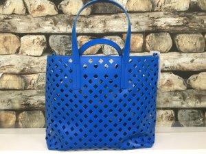BIMBA Y LOLA Damen Leder Echtleder Handtasche Tasche Shopper Bag Groß Offen Löcher Hellblau NEU NEU