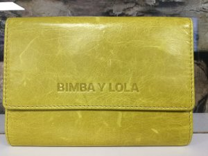 BIMBA Y LOLA Damen Leder Echtleder Portemonnaie Geldbörse Limettengelb Gelb Klein  NEU NEU