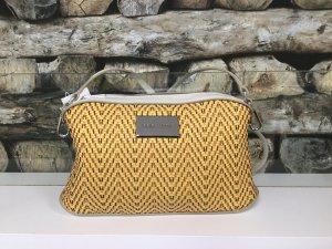 BIMBA Y LOLA Damen Leder Echtleder Tasche Handtasche Bag Clutch Gelb Schwarz Weiß Flechtmuster NEU NEU
