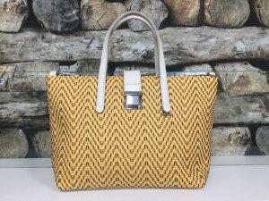 BIMBA Y LOLA Damen Leder Echtleder Tasche Handtasche Bag Gelb Schwarz Weiß Flechtmuster Mittelgroß NEU NEU