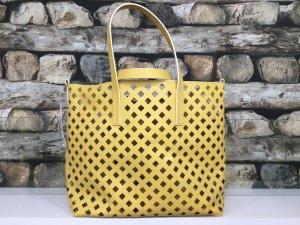 BIMBA Y LOLA Damen Leder Echtleder Tasche Handtasche Shopper Bag Groß Löcher Offen Gelb Beige NEU NEU