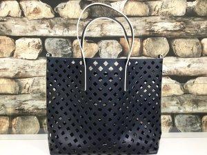 BIMBA Y LOLA Damen Leder Echtleder Tasche Handtasche Shopper Bag Groß Offen Löcher Dunkelblau Beige NEU NEU