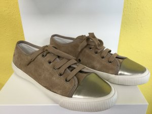 BIMBA Y LOLA Damen Leder Schuhe Turnschuhe Sneaker Schnürsneaker Ockerfarben Metallic Weiß Schnürsenkel NEU NEU