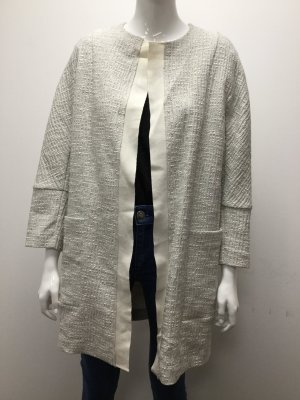 BIMBA Y LOLA Damen Mantel Kurzmantel Jacke Winter Grau Weiß Lang Baumwolle NEU 34