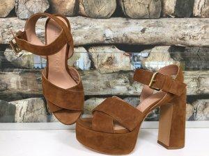 BIMBA Y LOLA Damen Schuhe Pumps High Heels Plateauabsatz Absatz Braun Leder 38 NEU