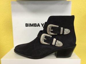 Bimba Y Lola Damen Schuhe Stiefel Boots Ankle Boots Absatz Marine Blau NEU NEU