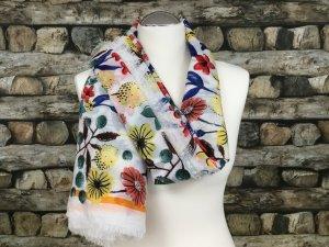 BIMBA Y LOLA Damen Tuch Tücher Schal Schals Weiß Bunt Gemustert Blumenmuster Groß Fransen NEU NEU