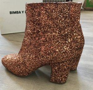 Bimba y Lola Glitzer Stiefeletten/Boots Gold/Orange NEU