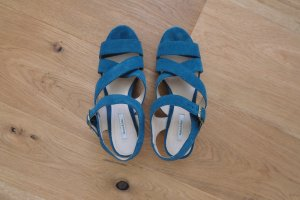 Bimba y Lola Kork Plateau Sandaletten 37 blau Wildleder