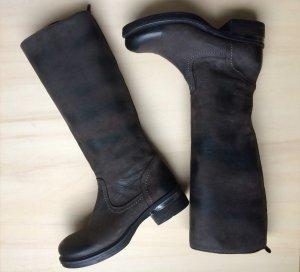 Biondini Lederstiefel komplett Leder dunkelbraun XS Schaft Stiefel Gr. 38 Neu! Neupreis 319 €