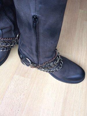 Biondini Lederstiefel mit Stiefelkette dunkelbraun Stiefel Echtleder Gr. 38 Bikerstiefel Neu!