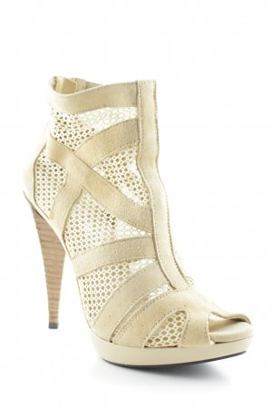 Biondini Peep Toe Pumps pale yellow-cream loosely knitted pattern