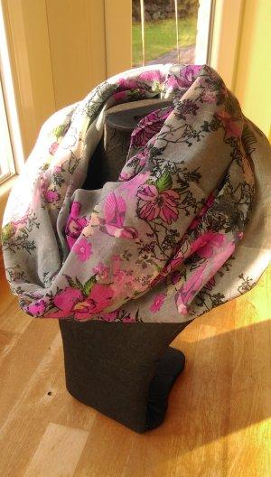 Écharpe tube gris clair-rose
