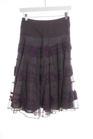 Birger et Mikkelsen Tulle Skirt dark violet flower pattern casual look