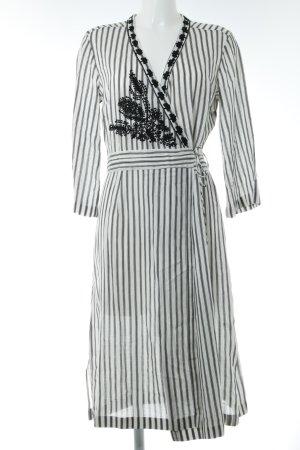 Birger et Mikkelsen Vestido cruzado blanco-negro estampado a rayas look casual