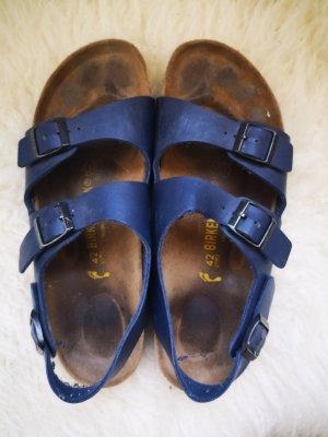 Birkenstock Sandalo con cinturino e tacco alto blu scuro
