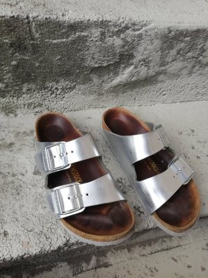 Birkenstock Sabots silver-colored leather