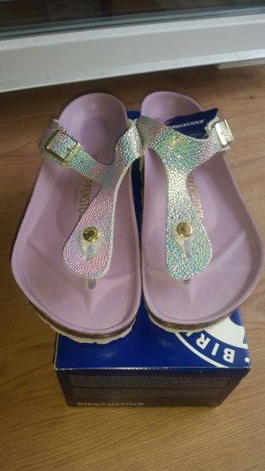 Birkenstock High-Heeled Toe-Post Sandals silver-colored-pink