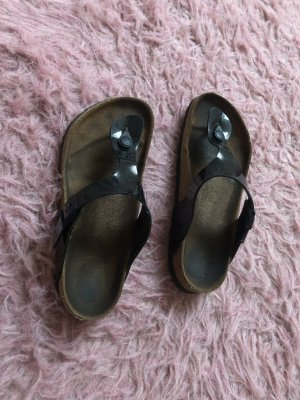 Birkenstock High-Heeled Toe-Post Sandals black