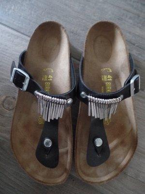 Birkenstock Gizeh Fringe schwarz silber, Gr. 41, Schuhweite normal