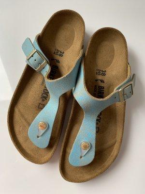 Birkenstock Toe-Post sandals cornflower blue-bronze-colored