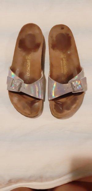 Birkenstock Sandals silver-colored leather