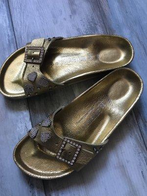 Birkenstock Comfort Sandals gold-colored leather