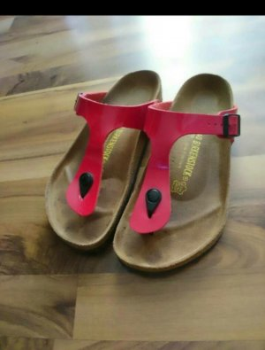 Birkenstock High-Heeled Toe-Post Sandals red