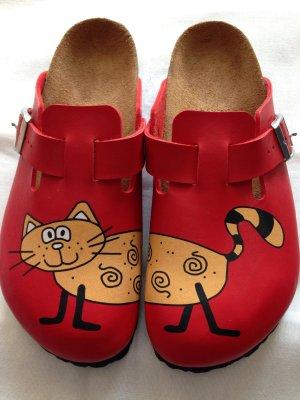 Birkenstock rot mit Katze,  Gr. 42