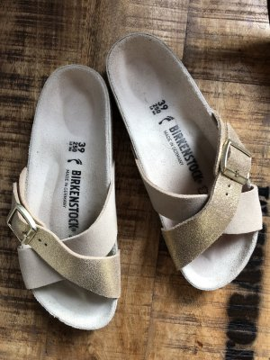Birkenstock Sandales confort beige clair-doré
