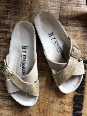 Birkenstock Comfortabele sandalen licht beige-goud