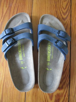 Birkenstock Sandalen 2 schmale Riemen Gr. 36 schmal neu blau