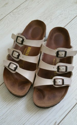 Birkenstock Strapped High-Heeled Sandals cream